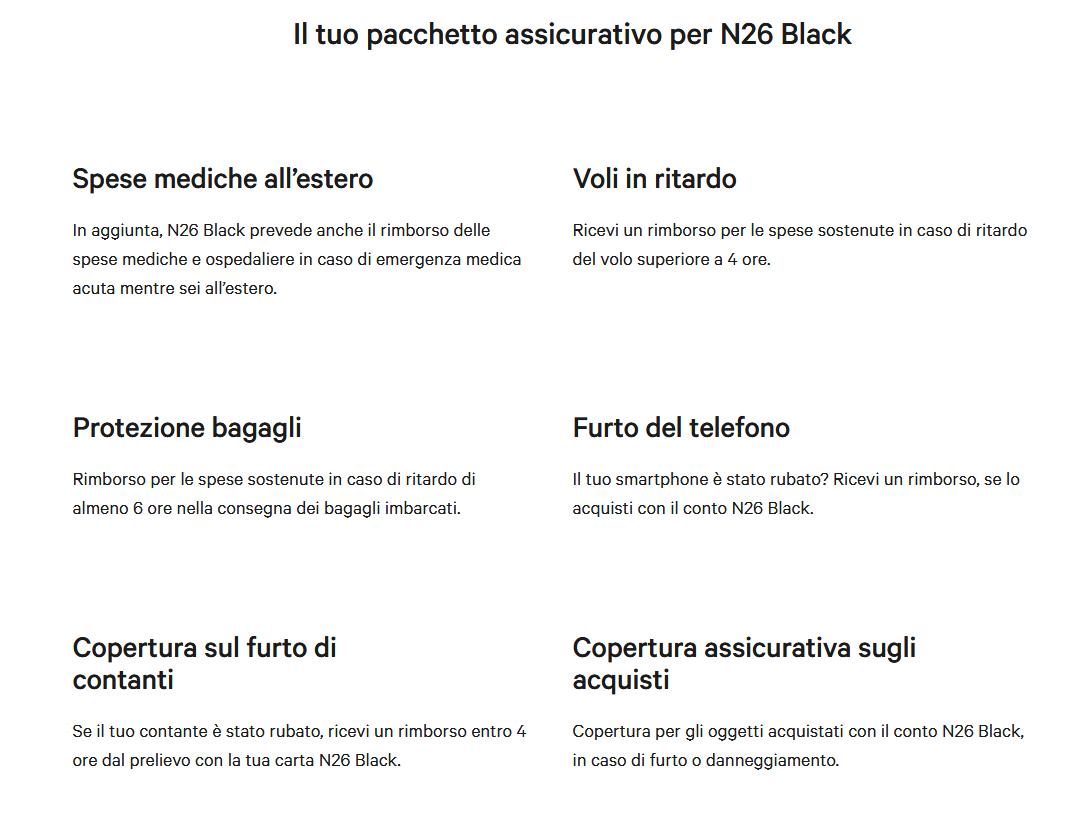 Il conto si chiama N26 Black e offre le seguenti funzionalità: