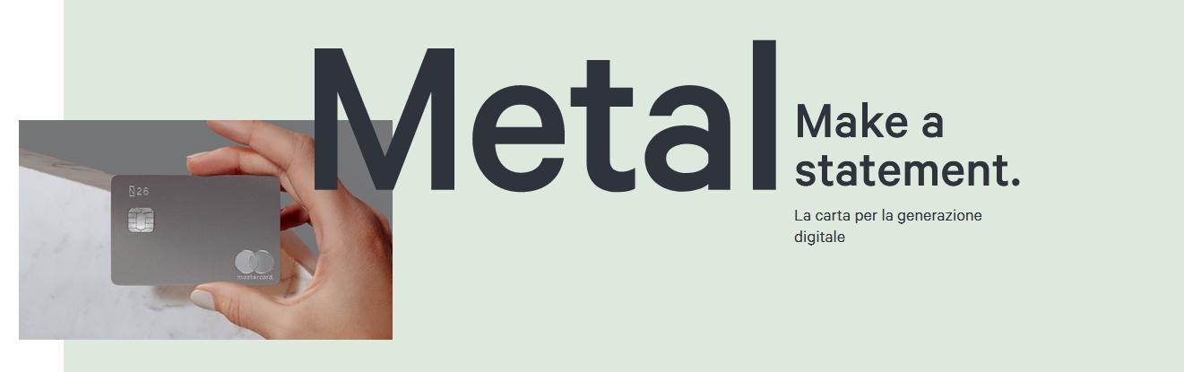 Il conto corrente N26 Metal